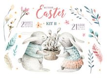 Hand drawing easter watercolor cartoon bunnies with leaves, bran. Ches and feathers. indigo Watercolour rabbit art illustration in vintage boho style. Greeting vector illustration