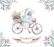 Hand drawing easter watercolor cartoon bunnies with leaves, bran. Ches and feathers. indigo Watercolour rabbit art illustration in vintage boho style. Greeting Royalty Free Stock Images