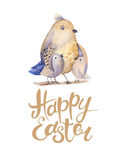 Hand drawing easter watercolor flying cartoon bird with leaves, stock illustration