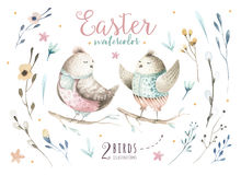 Hand drawing easter watercolor flying cartoon bird with leaves, Royalty Free Stock Photo