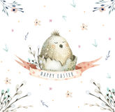 Hand drawing easter watercolor flying cartoon bird with leaves,