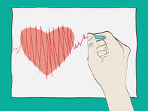 Hand drawing ECG Royalty Free Stock Images