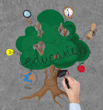 Hand drawing education tree Royalty Free Stock Image