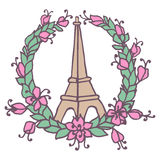 Hand drawing Eiffel Tower and Floral wreath. Pray Royalty Free Stock Image