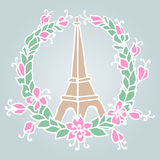 Hand drawing Eiffel Tower and Floral wreath. Pray Stock Photos