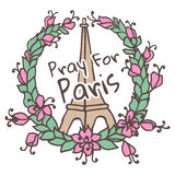 Hand drawing Eiffel Tower and Floral wreath. Pray Stock Images