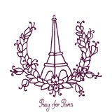 Hand drawing Eiffel Tower and Floral wreath. Pray Royalty Free Stock Images