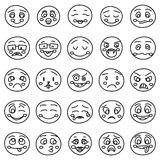 Hand drawing of emoticons or vector doodle emotional faces Royalty Free Stock Photography