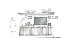 Hand drawing of an entertainment wall for interior living room Royalty Free Stock Photography