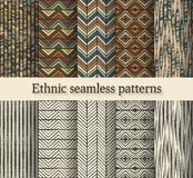 Hand drawing ethnic seamless patterns set Stock Image