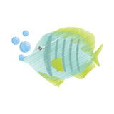 Hand drawing exotic fish sealife freshwater bubbles Stock Photo