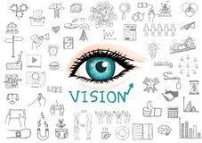 Hand drawing eye and business icons with VISION concept. Stock Photography
