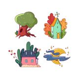 Hand drawing fairy set. Big green oak-tree. Two little houses surrounded by different colorful plants. Bright moon with Stock Photo