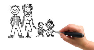The hand drawing family. Illustration of the hand with a pen drawing family on the white paper background vector illustration