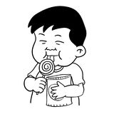 Hand drawing of Fat boy and lollipop -Vector Illustration Royalty Free Stock Photos