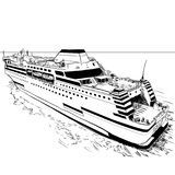 Hand drawing ferry-Vector Illustration. Hand drawn sketch of Ferry, Black and White simple line Vector Illustration for Coloring Book - Line Drawn Vector Royalty Free Stock Photography
