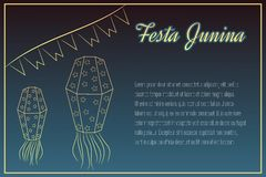 Hand-drawing Festa Junina elements on night time Royalty Free Stock Photography