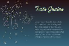 Hand-drawing Festa Junina fireworks on night time Royalty Free Stock Image