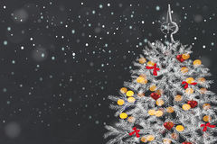 Hand drawing fir tree on blackboard. Decorates Christmas tree. Hand drawing on blackboard. Christmas holiday concept Stock Images