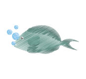 Hand drawing fish aquarium ornament habitat bubbles Royalty Free Stock Photo