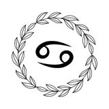 Hand drawing flat cancer symbol. In rustic floral wreath Stock Photos