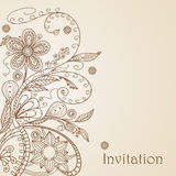 Hand drawing floral pattern Stock Photography