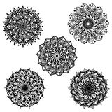 Hand drawing Flower Mandala Art. Hand drawing Flower Mandala set images that can be printed in any media, on tshirt, poster, etc Royalty Free Stock Photo