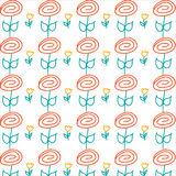 Hand drawing flower pattern Stock Photography