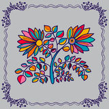 Hand drawing  flowers and border Stock Images