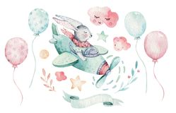 Hand drawing fly cute easter pilot bunny watercolor cartoon bunnies with airplane in the sky. Turquoise watercolour royalty free illustration