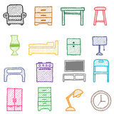 Hand drawing furniture icons stock illustration