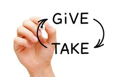 Give And Take Compromise Or Charity Concept. Hand drawing give-and-take compromise, generosity or charity concept with black marker on transparent glass board royalty free stock photo