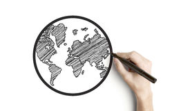 Hand drawing globe Stock Photography