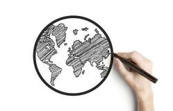 Hand drawing globe Stock Photography