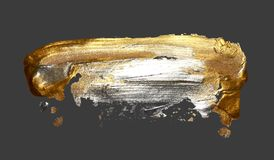 Hand drawing gold brush stroke paint spot on a gray background. Handmade vector illustration vector illustration
