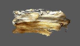 Hand drawing gold brush stroke paint spot. On a gray background, handmade vector illustration vector illustration