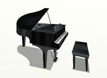 Hand Drawing of Grand Piano on White Background Royalty Free Stock Photography