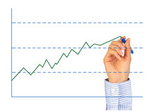 Hand is drawing graph. stock images