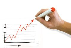 Hand drawing graph. Hand drawing red graph that goes up Royalty Free Stock Photo