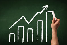 Hand drawing graph on blackboard Royalty Free Stock Photos