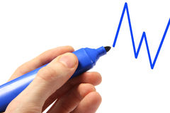 hand drawing graph with blue pen Royalty Free Stock Photography