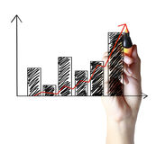 Hand drawing a graph Royalty Free Stock Photos