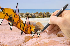 Hand drawing a graph about construction of a dam for flood prote Royalty Free Stock Images