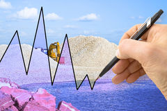 Hand drawing a graph about construction of a dam Stock Photos