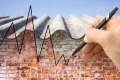 Hand drawing a graph about issues relating asbestos Royalty Free Stock Image