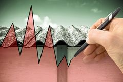Hand drawing a graph about issues relating asbestos.  Royalty Free Stock Photos