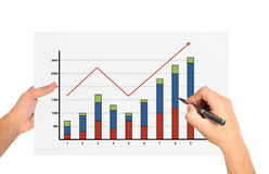 Hand drawing graph Stock Images
