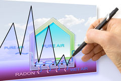 Hand drawing a graph about radon issue Royalty Free Stock Image