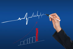Hand drawing graph and trend Royalty Free Stock Image