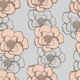 Hand drawing graphic flowers seamless pattern with. Pastel colors Royalty Free Stock Images